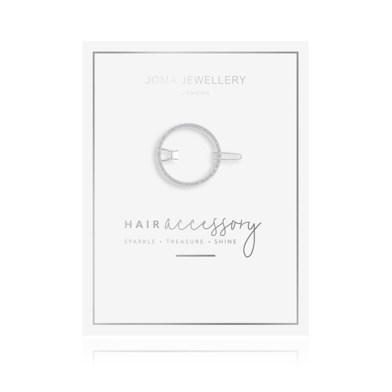 Hair Accessory Silver Pave Circle Clip