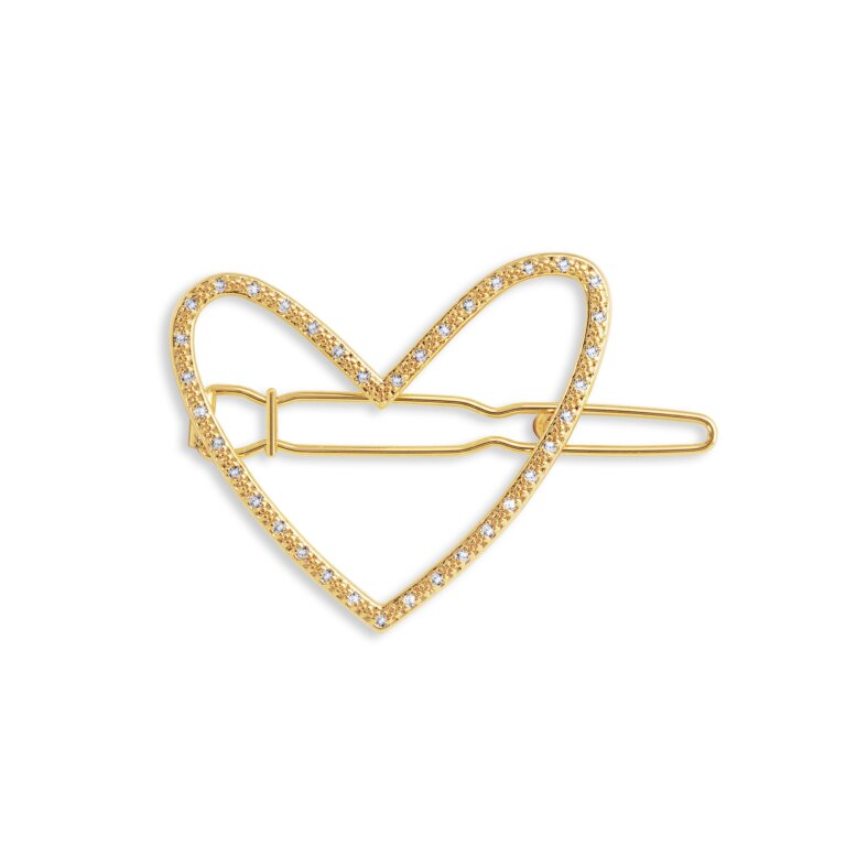 Hair Accessory Gold Pave Heart Clip