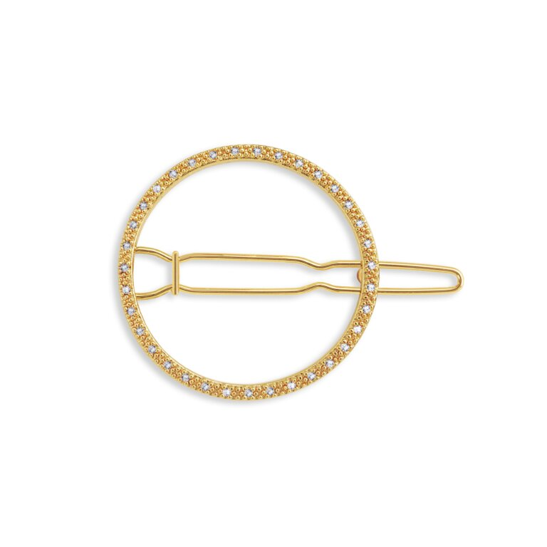 Hair Accessory Gold Pave Circle Clip
