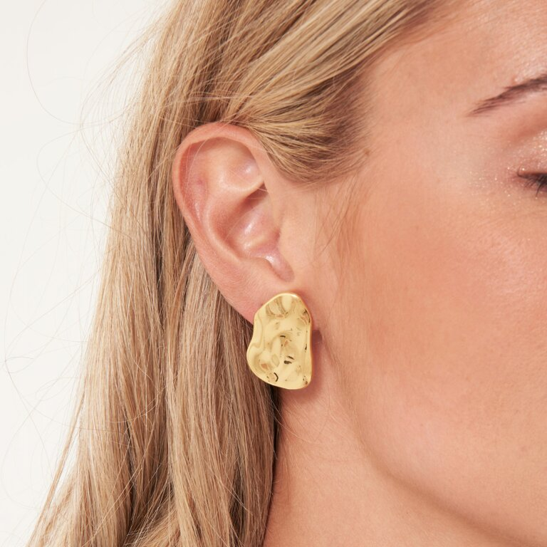 Statement Earrings Hammered Gold