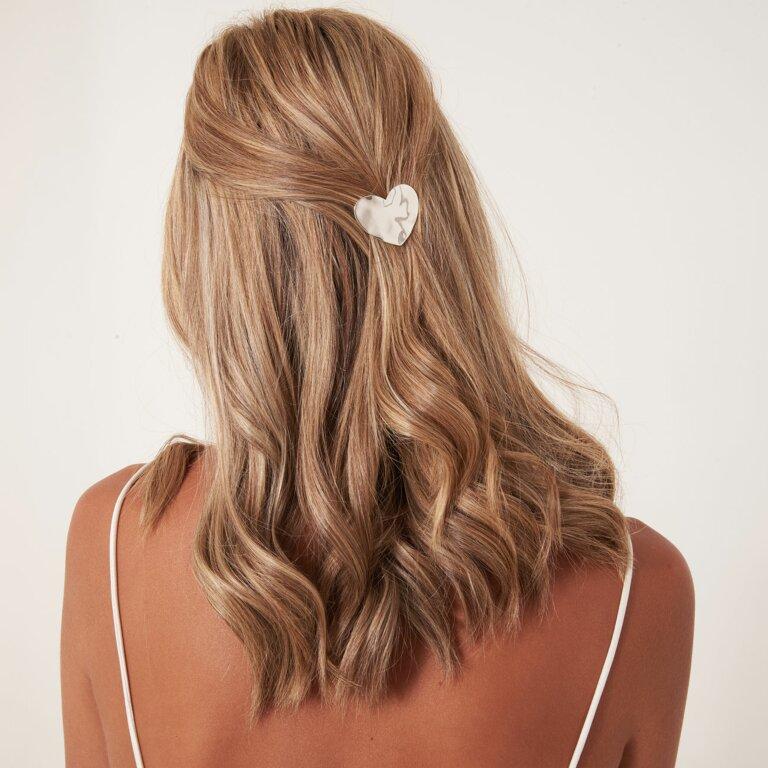 Hair Accessory Hammered Silver Heart Hair Clip