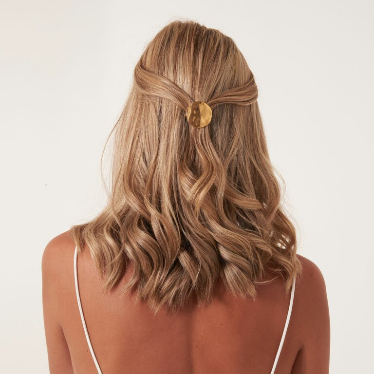 Hair Accessory Hammered Gold Disc Hair Clip