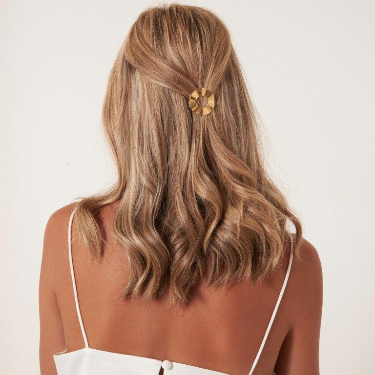 Hair Accessory Ribbon Gold Hoop Hair Clip