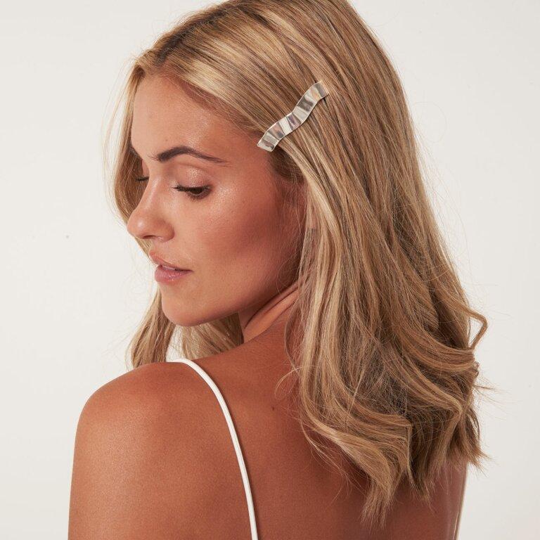 Hair Accessory Ribbon Silver Bar Hair Clip