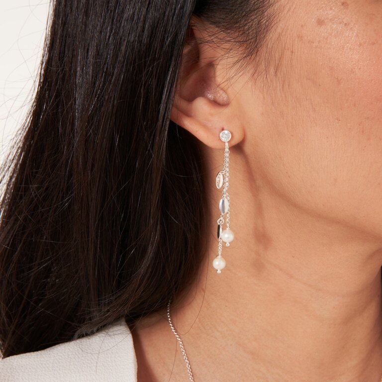 Happy Ever After Bridal Jewellery Pearl Cz Leaf Earrings