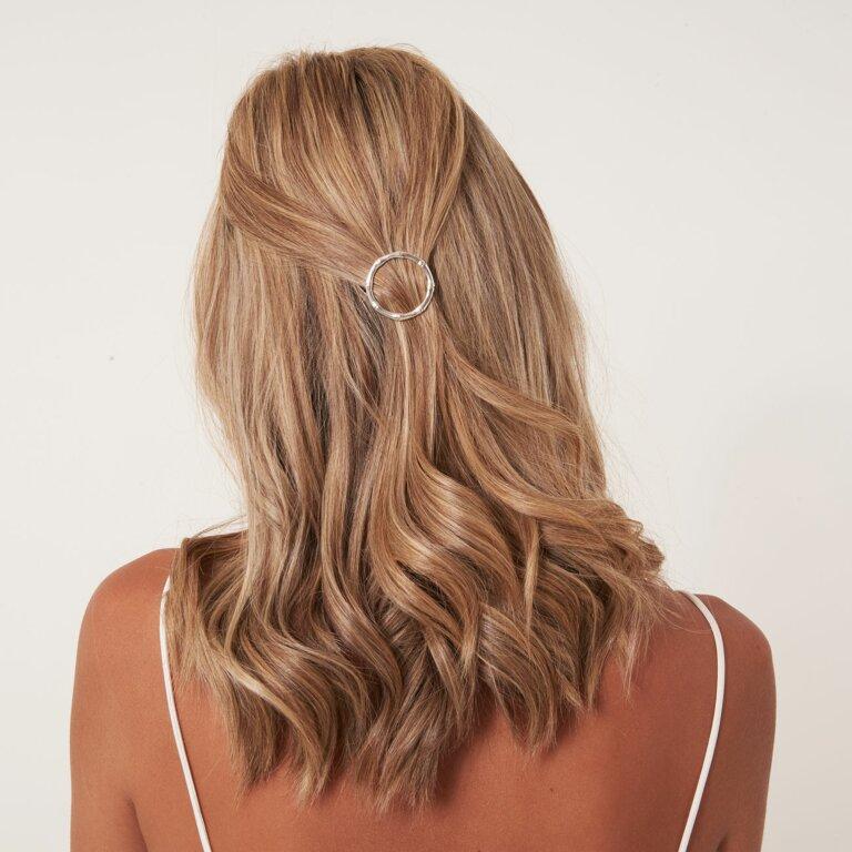 Hair Accessory Bamboo Silver Hoop Hair Clip