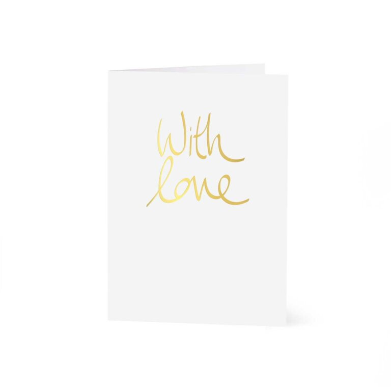 Greeting Card   With Love   Gold Writing