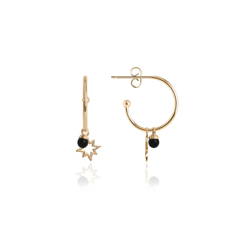 Signature Stones Onyx Hoop Earrings | Protection