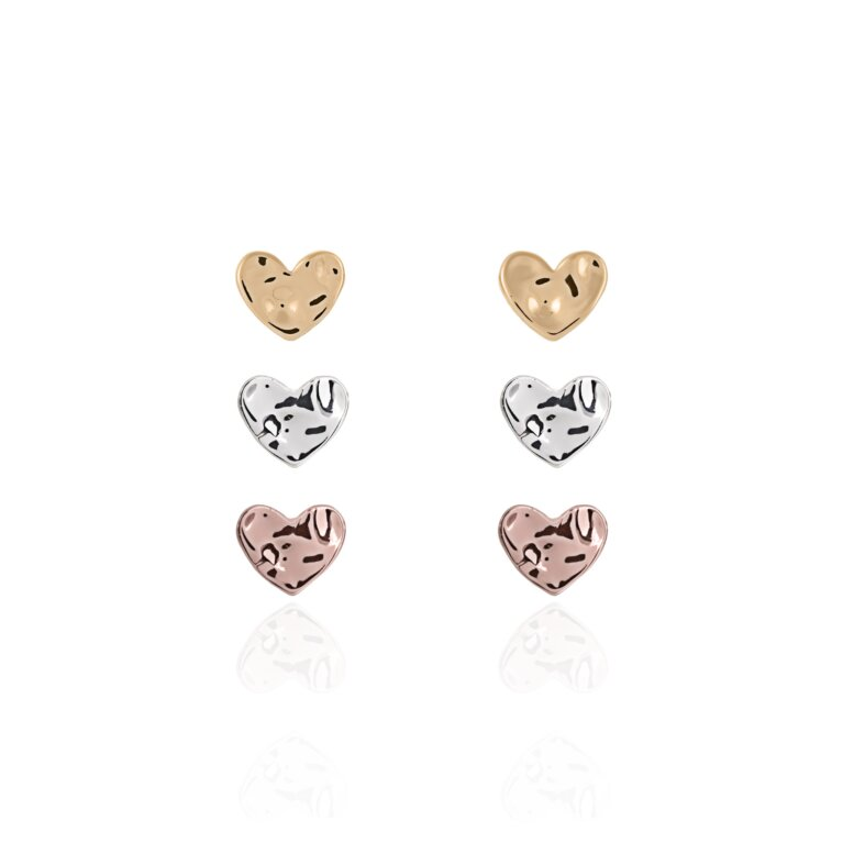 Florence Hammered Heart Earring Set