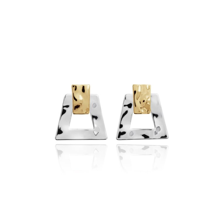 Statement Earrings Hammered Two Tone
