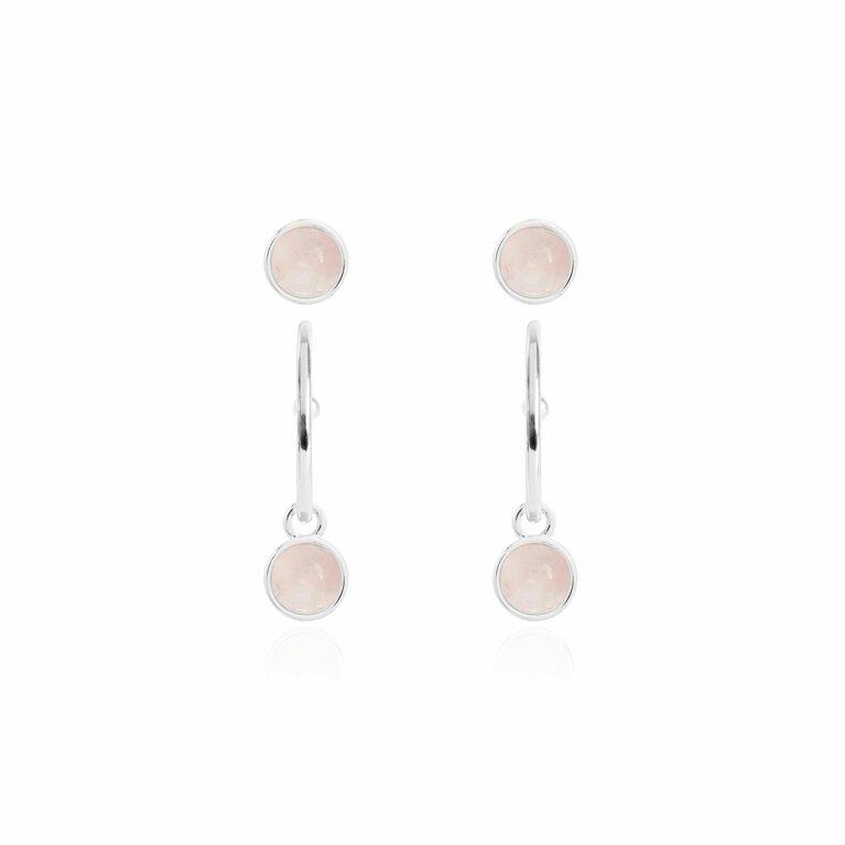 Signature Stones Rose Quartz Silver Studs And Hoop Earring Set