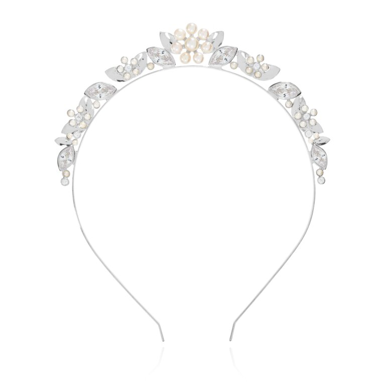 Happy Ever After Hair Accessories Pearl Flower And Cz Hair Band