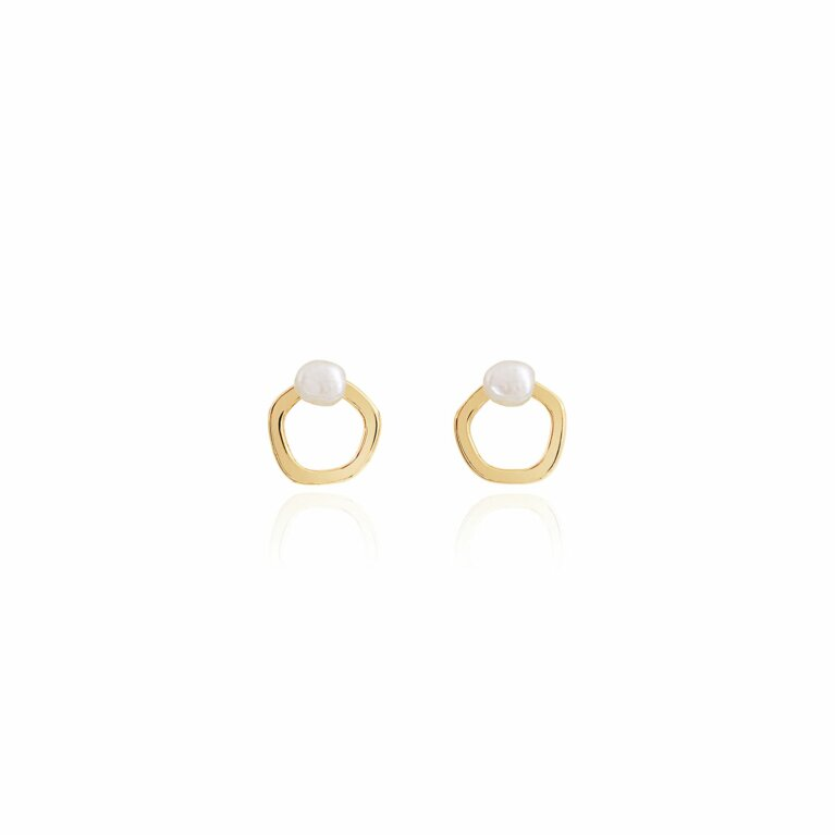 Isla Pearl Hoop Stud Earrings