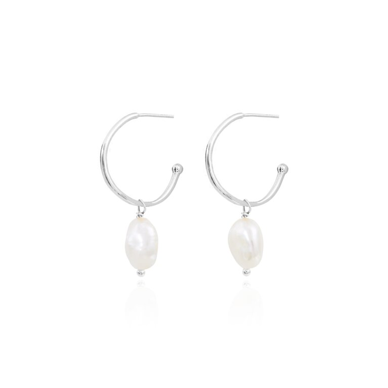 Isla Pearl Silver Hoop Earrings