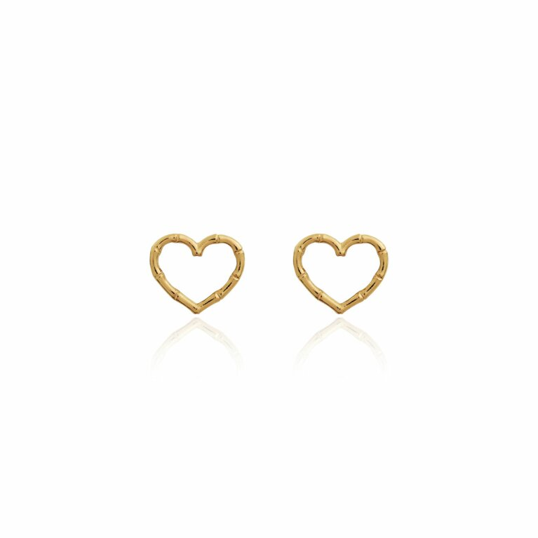Radiant Bamboo Heart Stud Earrings
