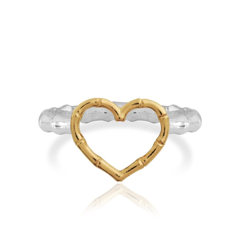 Radiant Bamboo Heart Ring