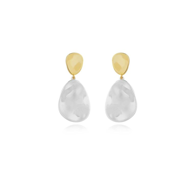Statement Earrings | Two Tone Drop Pebble Earrings