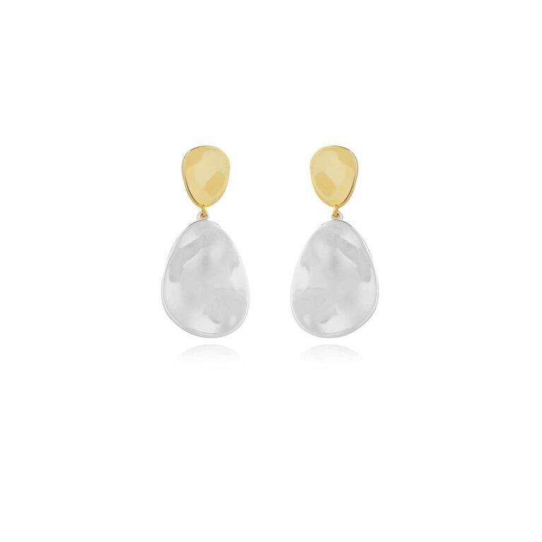 Statement Earrings | Two Tone Drop Pebble Earrings