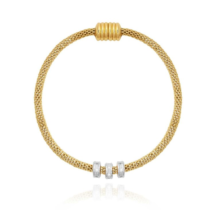 Halo Venetian Chain Two Tone Bracelet