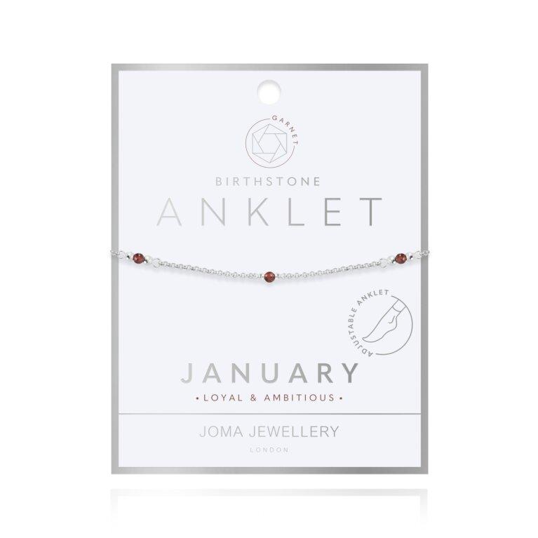 Birthstone Anklet | January Garnet