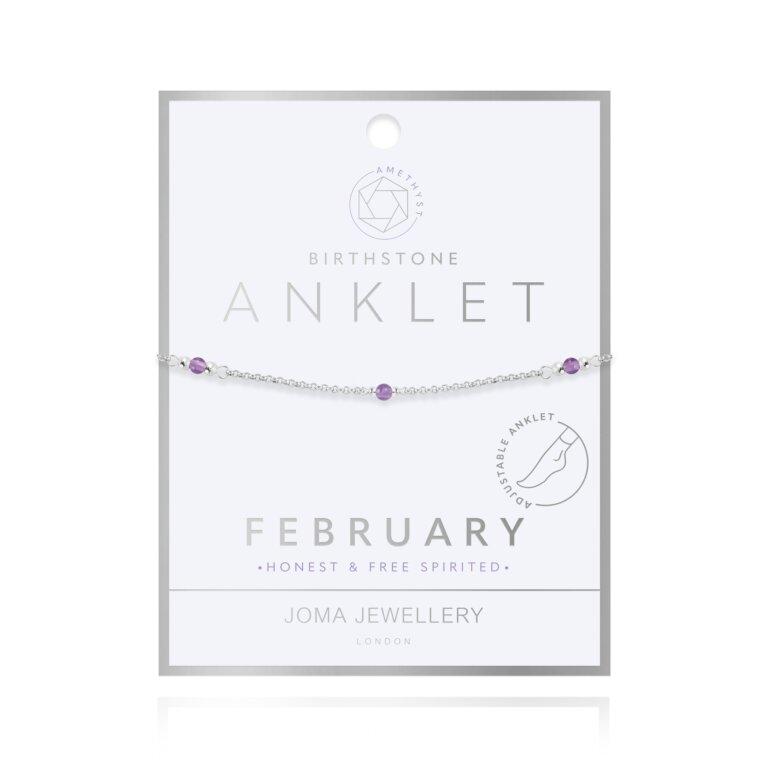 Birthstone Anklet | February Amethyst