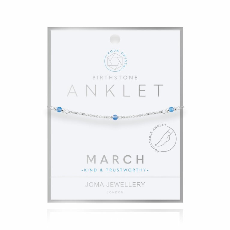 Birthstone Anklet | March Aqua Crystal