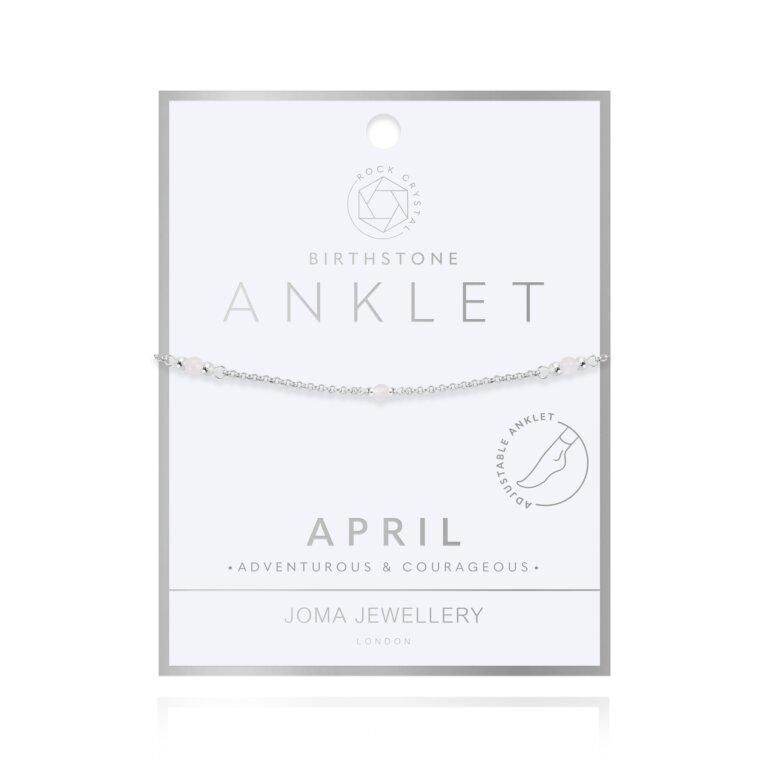 Birthstone Anklet April Rock Crystal