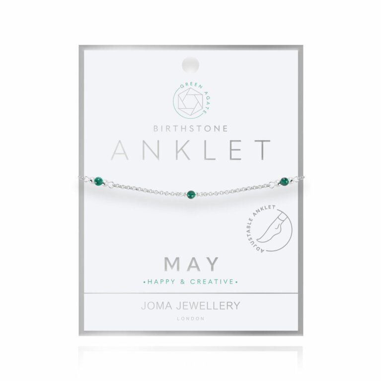 Birthstone Anklet | May Green Agate