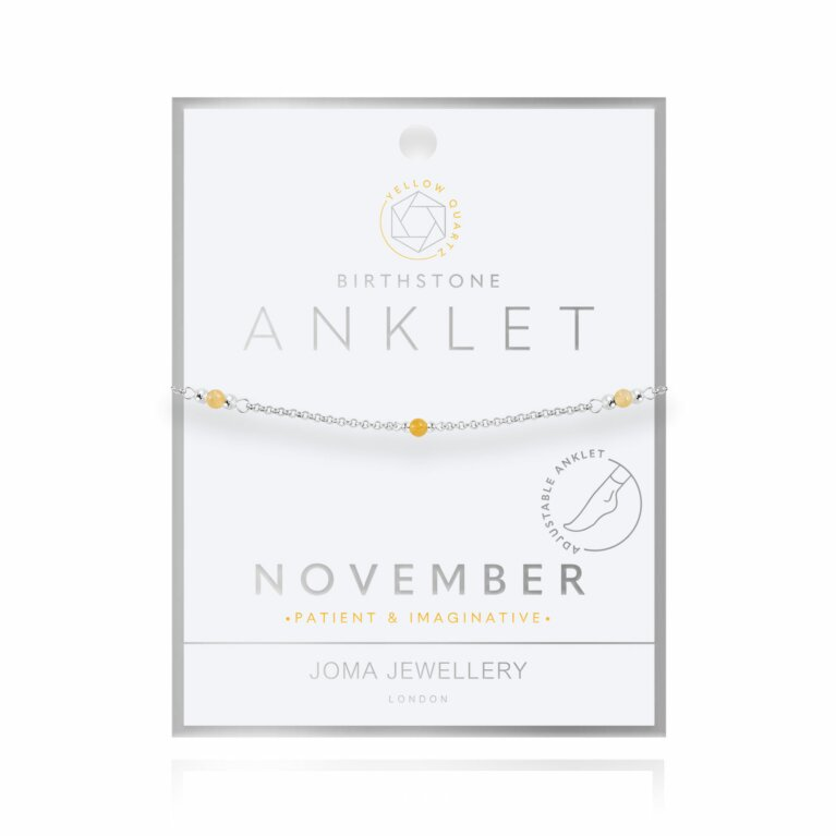 Birthstone Anklet | November Yellow Quartz