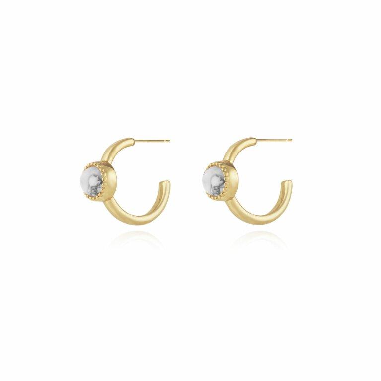 Capri | Howlite Hoop Earrings