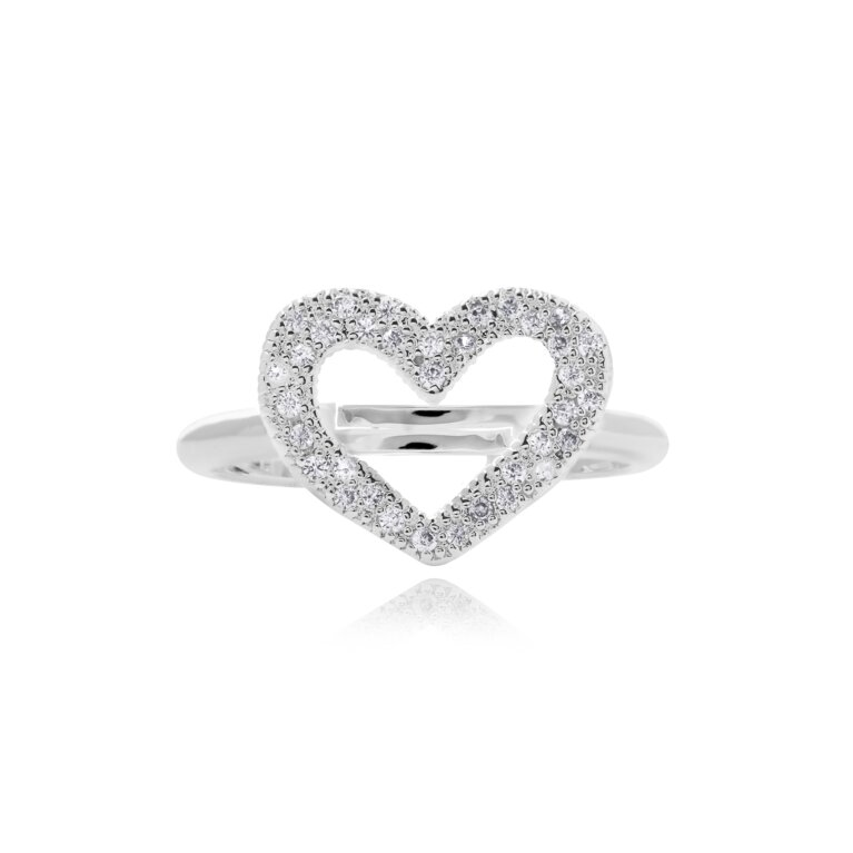 Lucia Lustre Heart Organic Pave Ring