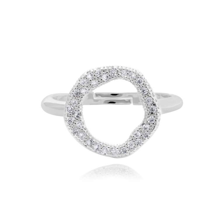 Lucia Lustre Round Organic Pave Ring